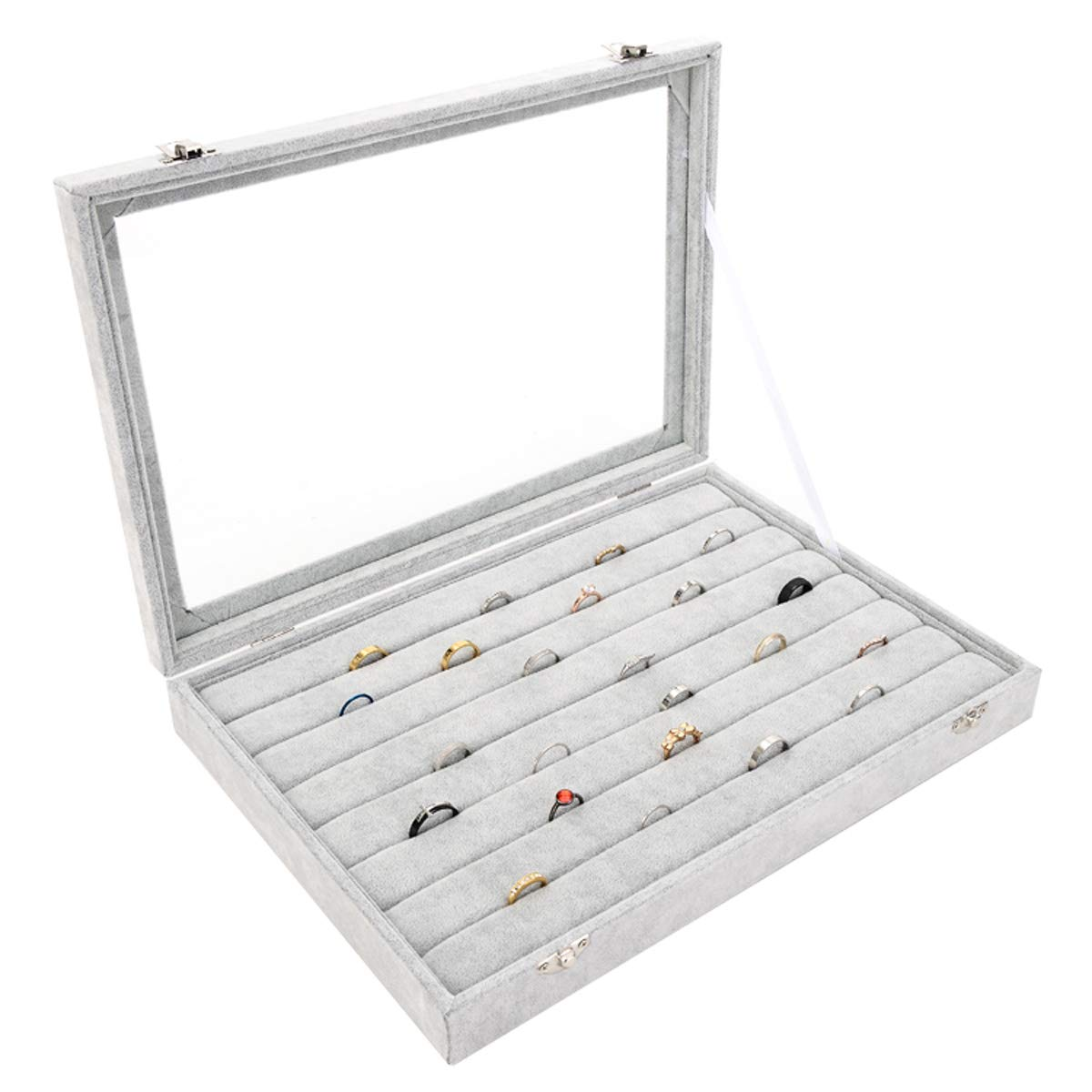 Autoark Ice Velvet Clear Lid 7 Slots Jewelry Rings Earrings Tray Showcase Display Organizer,AJ-023