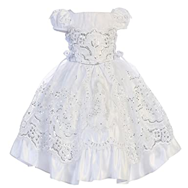 d9c8072eab0 Amazon.com  Angels Garment Little Girls White Satin Embroidered ...