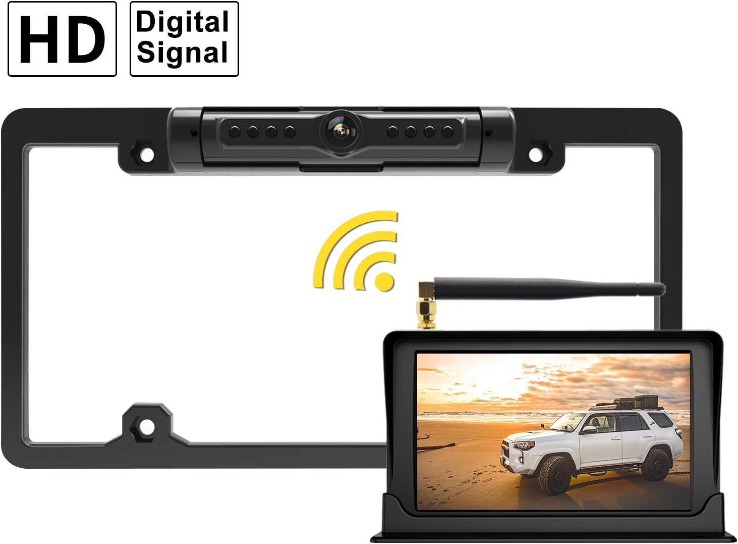 "FOOKOO Wireless Backup Camera and Monitor Kit 5"" HD Screen License Plate Camera with Frame IP69K Waterproof Rear View Camera with Parking Lines Universal for All Cars as SUV, Pickup, Truck, Minivan"