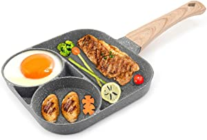 2 in 1 Nonstick Egg Steak Frying Pan,3 Section Aluminium Alloy Fried Egg Cooker With Wood Handle Suitable for Cooking Ham Omelet Egg Muffins Bacon