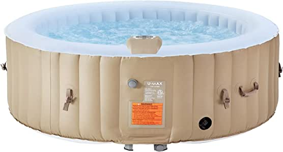 "U-MAX Inflatable Hot Tub, 4-6 Person Portable SPA Blow Up Hot Tub with Built in Heater and Bubble Function(Roundness, 82"" x 25"")"