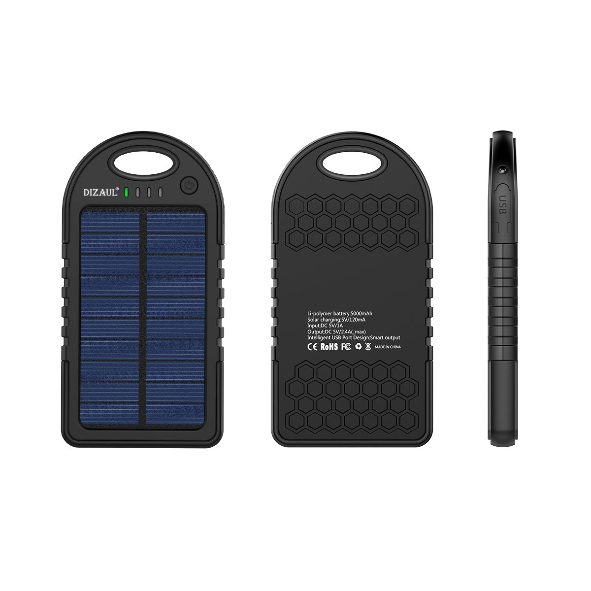 Solar Charger, Dizaul 5000mAh Portable Solar Power Bank Waterproof/Shockproof/Dustproof Dual USB Battery Bank for Cell Phone, Samsung, Android Phones, Windows Phones, GoPro Camera, GPS and More by dizauL (Image #4)