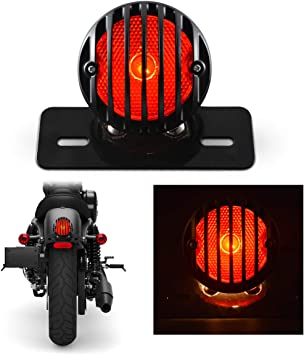 TUINCYN Red Motorcycle Tail Light with Black Heavy Duty Motorcycle 12V Brake Stop Running Light Indicators Blinkers Lights with License Plate Holder 1-Pack