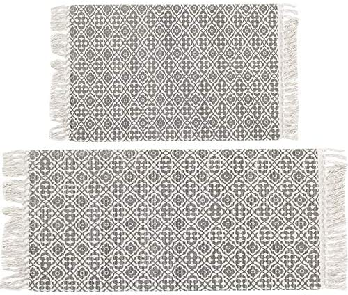 HEBE Large Cotton Area Rug Set of 2 Machine Washable 2'x4.2' 2'x3' Woven Cotton Rugs Runner Printed Tassel Area Rug