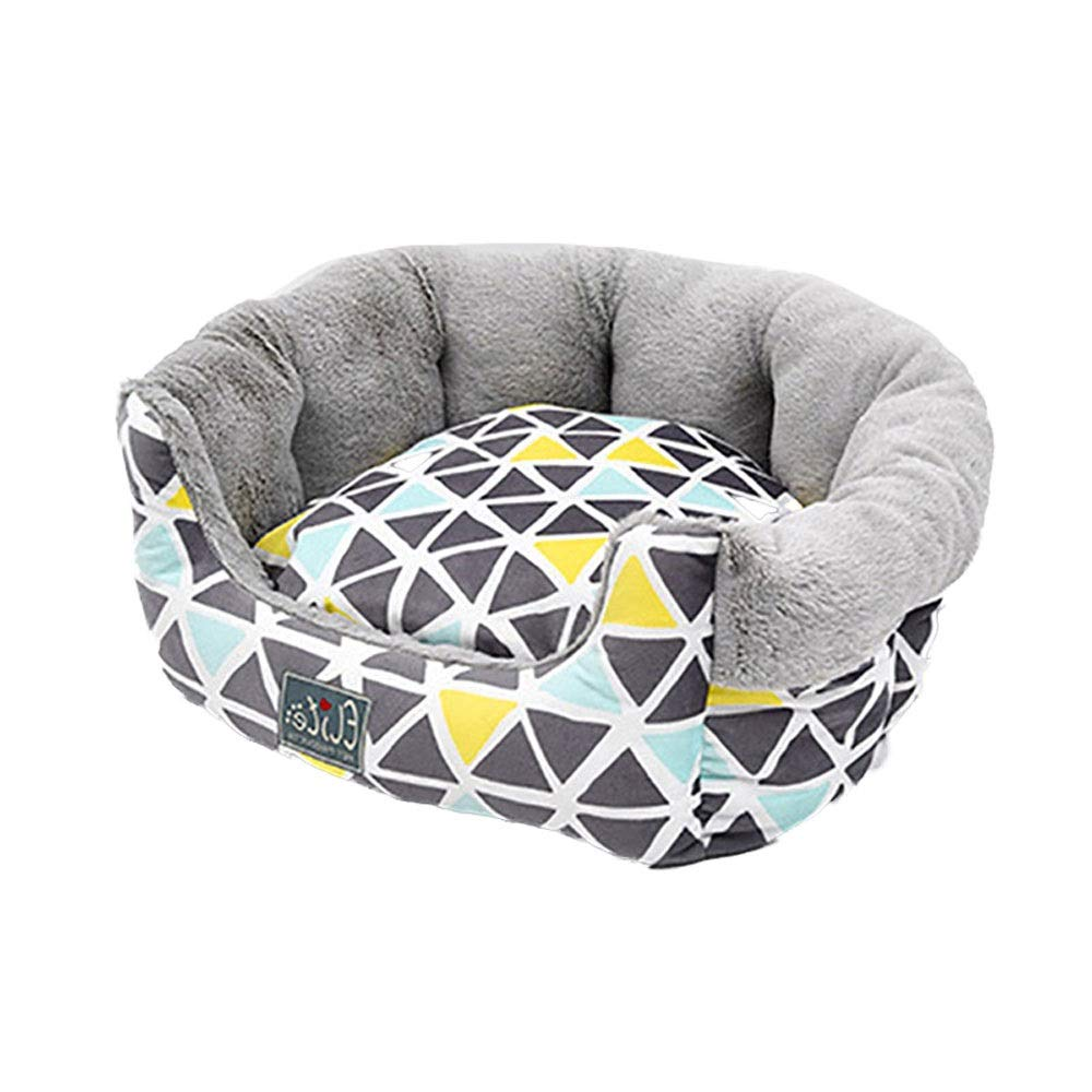 M Xuoo Autumn and Winter Pet Supplies Blanket Kennel Dog Pad Teddy Four Seasons Universal Pet Supplies Cat Litter Cat Pad Washable Pet Nest Nordic Geometry Series Round Nest (Size   M)