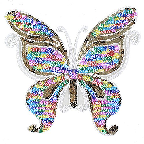 Shiny Butterfly Sequins Iron on Applique Embroidered Patches(Colorful Butterfly)