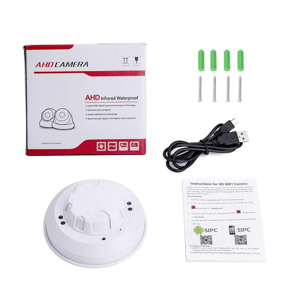 Ocamo WiFi HD 1080P Cámara IP Mini Detector de Humo Detección de Movimiento Nanny CAM DVR: Amazon.es: Hogar