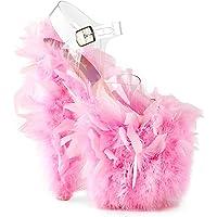 Pleaser FLAMINGO-808F Clr/Neon Pink Marabou Feather UK 5 (EU 38)