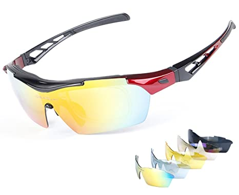 35d8523169b51 Zabarsii Polarized Sports Sunglasses Sun Glasses with 5 Interchangeable  Lenses for Cycling Running Driving Fishing Golf
