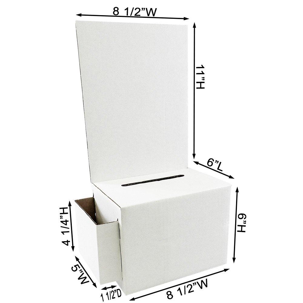 Cardboard Ballot Box with White Removable Header (Carton of 10)