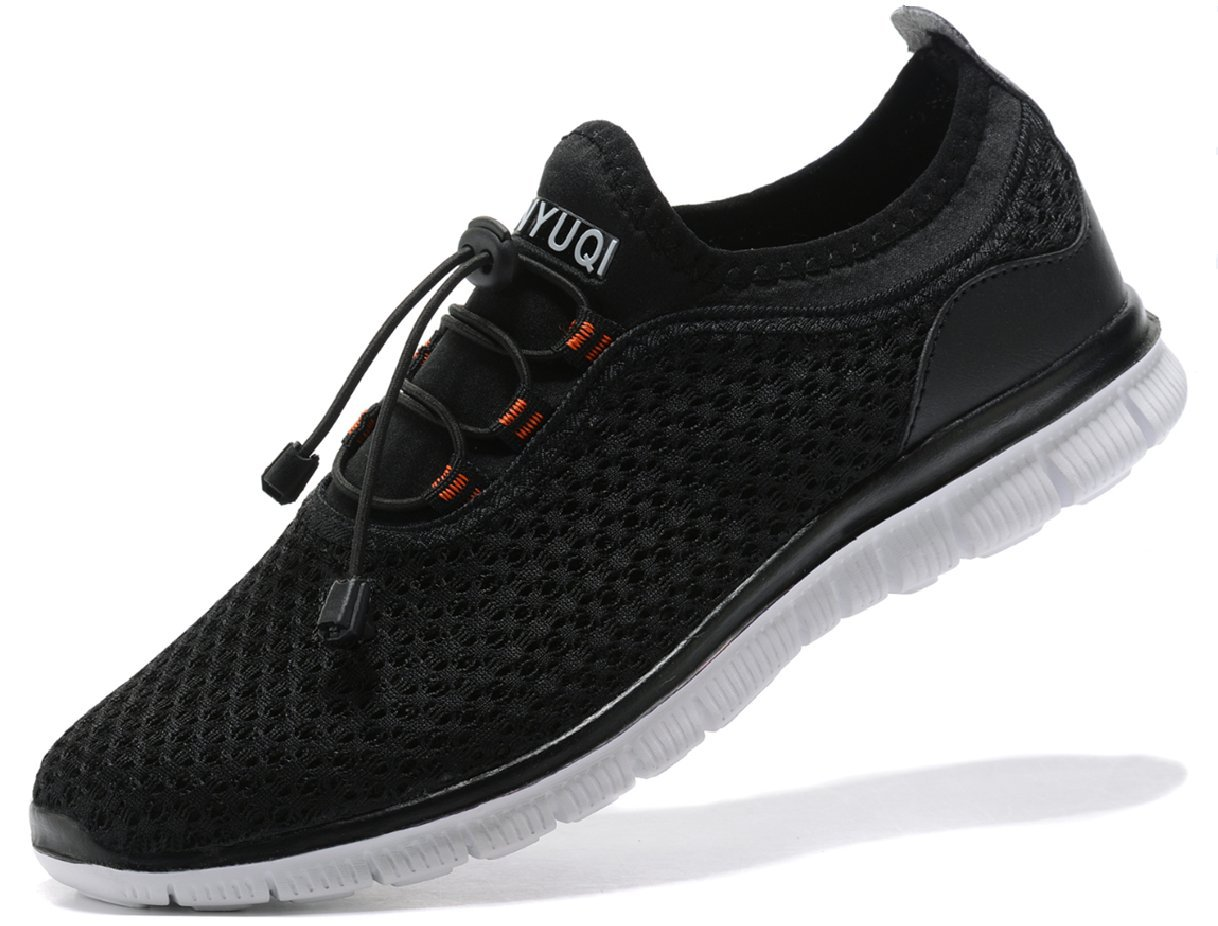 SIBARU Men's Walking Gym Sneakers Casual Athletic Comfortable Lightweight Running Shoes (46 M EU/12 D(M) US, Black) by SIBARU