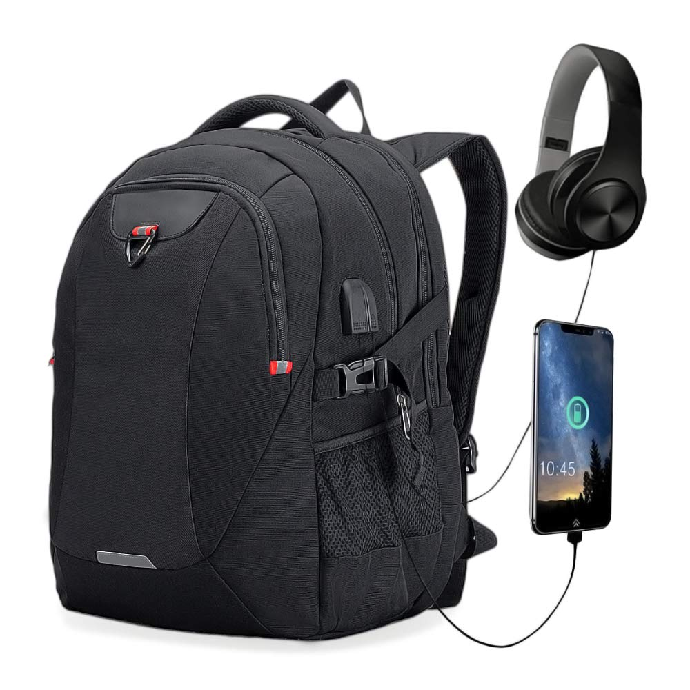 Extra Large Laptop Backpack Travel Computer Backpack with USB Charging Port for Men Women Water Resistant Big Business College School Bookbag with Luggage Sleeve Fit 17.3 Inch Laptop 40L Black