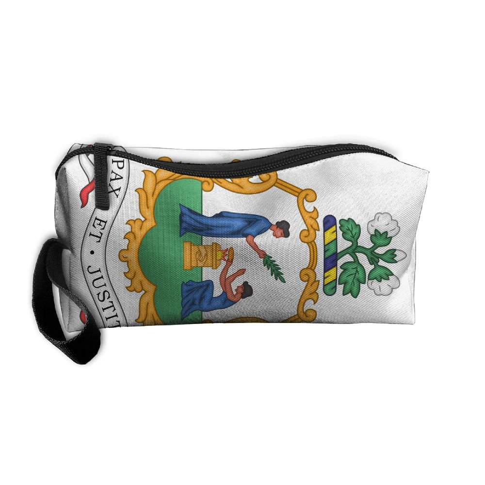 Coat Of Arms Of Saint Vincent And The Grenadines Cosmetic Bag Travel Toiletry Bag Portable Makeup Pouch