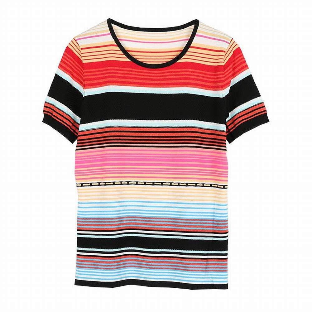 Katylen Katylen Katylen Bunt Gestreiftes Kurzärmeliges T-Shirt Weibliches Rundhals-Shirt mit Rundhalsausschnitt B07GVDQXC5 Bekleidung Schön be452d