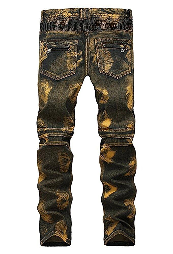 TOPING Fine Fashion;Handsome Men's Golden Vintage Slim Fit Biker Jeans Runway Skinny Moto Jeans Pants