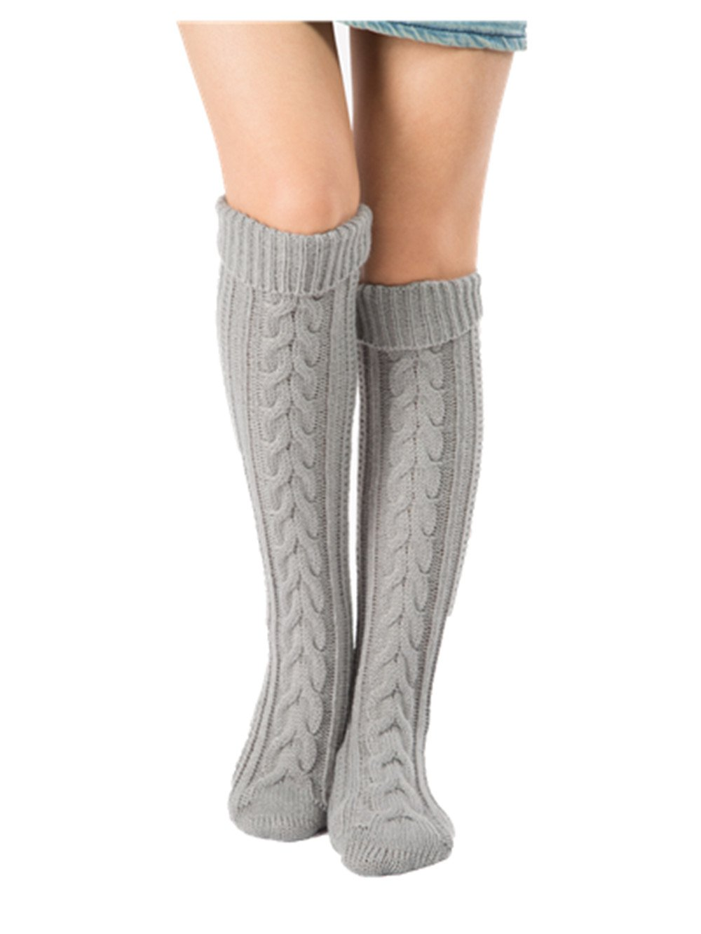 Centrawin Women's Winter Over Knee Knitted Crochet Leg Warmer Long Socks 4WZ149-color2
