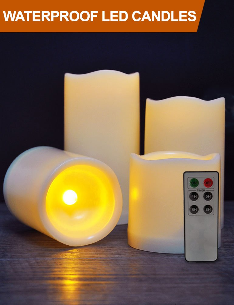 HOME MOST Set of 4 WATERPROOF Outdoor LED Pillar Candles with Remote (IVORY, 3''/4''/5''/6'' Tall, Wavy Edge) - LED Candles Flickering Outdoor Decorative Candles Set - Candle Decor Fake Candles with Timer by HOME MOST (Image #1)