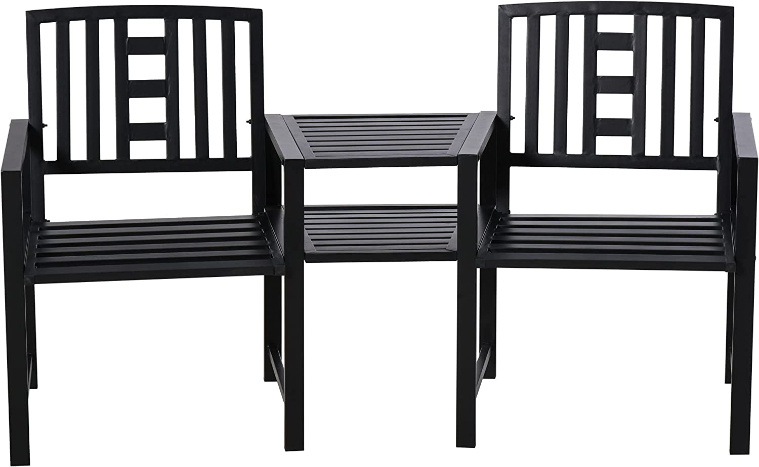 Outsunny Patio Tete-a-Tete Chair 2 Seat Bench Middle Coffee Table for Outdoors Decorative Slatted Design Steel Frame for Garden Yard