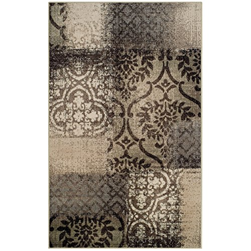 Superior Bristol Collection Area Rug, 8mm Pile Height with Jute Backing, Chic Geometric Damask Patchwork Design, Fashionable and Affordable Woven Rugs - 4' x 6' Rug, Beige & Brown