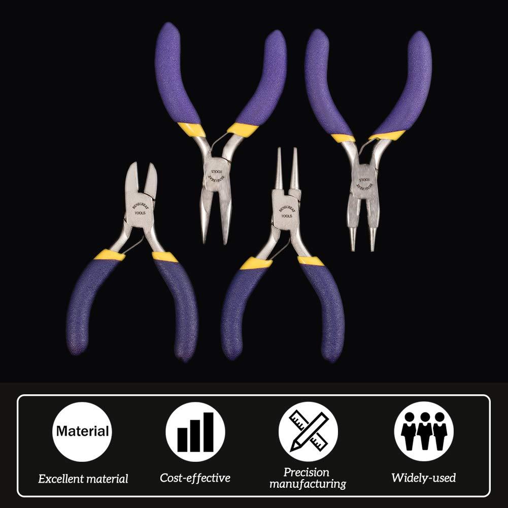 Nariz Redonda//Nariz Redonda con Cortador//Corte Lateral//Alicates de Punta BENECREAT4 PCS Alicates para Joyas Mini Alicates Profesionales de Precisi/ón para la Fabricacion de Joyas