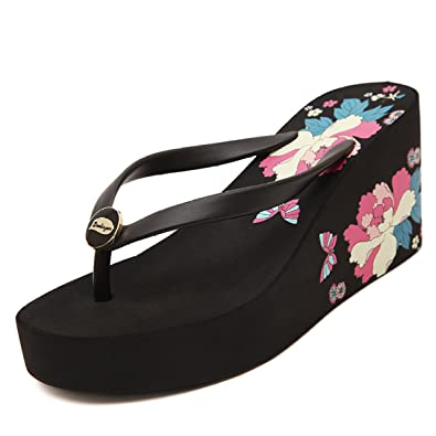 Frauen Hausschuhe Einfarbig Strand Flip-Flops Sommermode High Heel Hausschuhe Keile Dicke Plattformen Flip Flop Sandalen Hausschuhe,Blue-41 CHENGXIAOXUAN