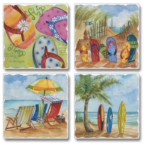Set 4 Drink / Bar Coasters - Beach Trio - Surfboards, Flip Flops and Beach Chairs - Tropical Beach Theme