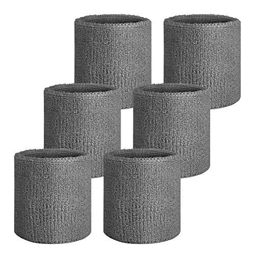 Cotton Elastic Sweatband (Sweatband Headband/ Wristband Perfect for Basketball, Running, Football, Tennis- 6PCS/ 3PCS Terry Cloth Athletic Sweatbands Fits to Men and Women)
