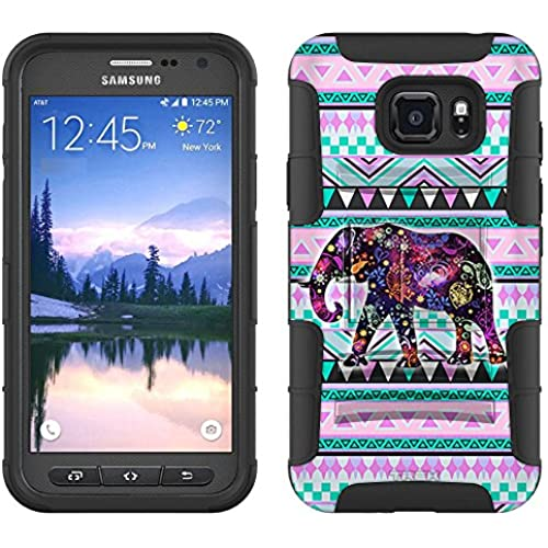 Samsung Galaxy S7 Active Armor Hybrid Case Elephant on Aztec Andes Tribal Tea 2 Piece Case with Holster for Samsung Sales