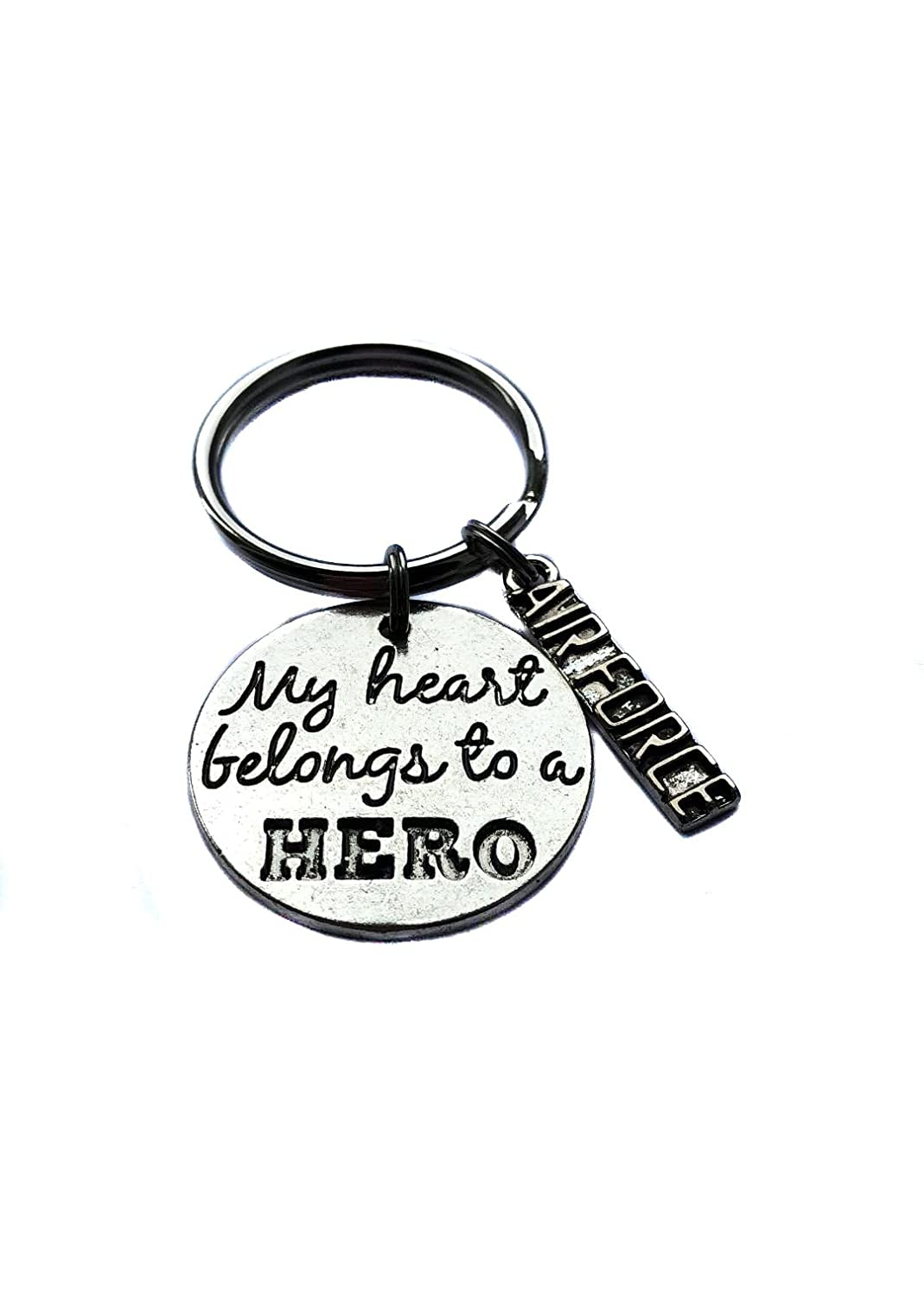 """""""My Heart Belongs To A Hero"""" """"Air Force"""" Antique Silver Charm, Keychain, Key Chain, Bag Charm Military Wife Gift"""
