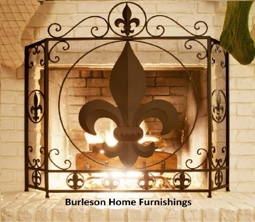 Fleur De Lis Stars (Fireplace Fleur De Lis Screen Tri Fold - Metal - Heavy - Home DÃÂcor - Fire - by RR)