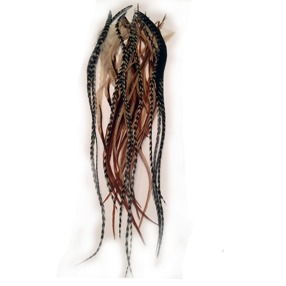 Sexy Sparkles 25 loose long Natural Rooster Browns and grizzly Hair Feathers for Hair Extensions ranging from 6''-11''.