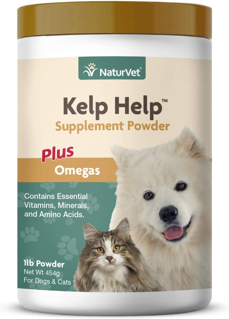 NaturVet Kelp Help Supplement Powder – Plus Omegas Supports Healthy Skin Glossy Coat Enhanced with Essential Vitamins, Minerals Amino Acids for Dogs Cats