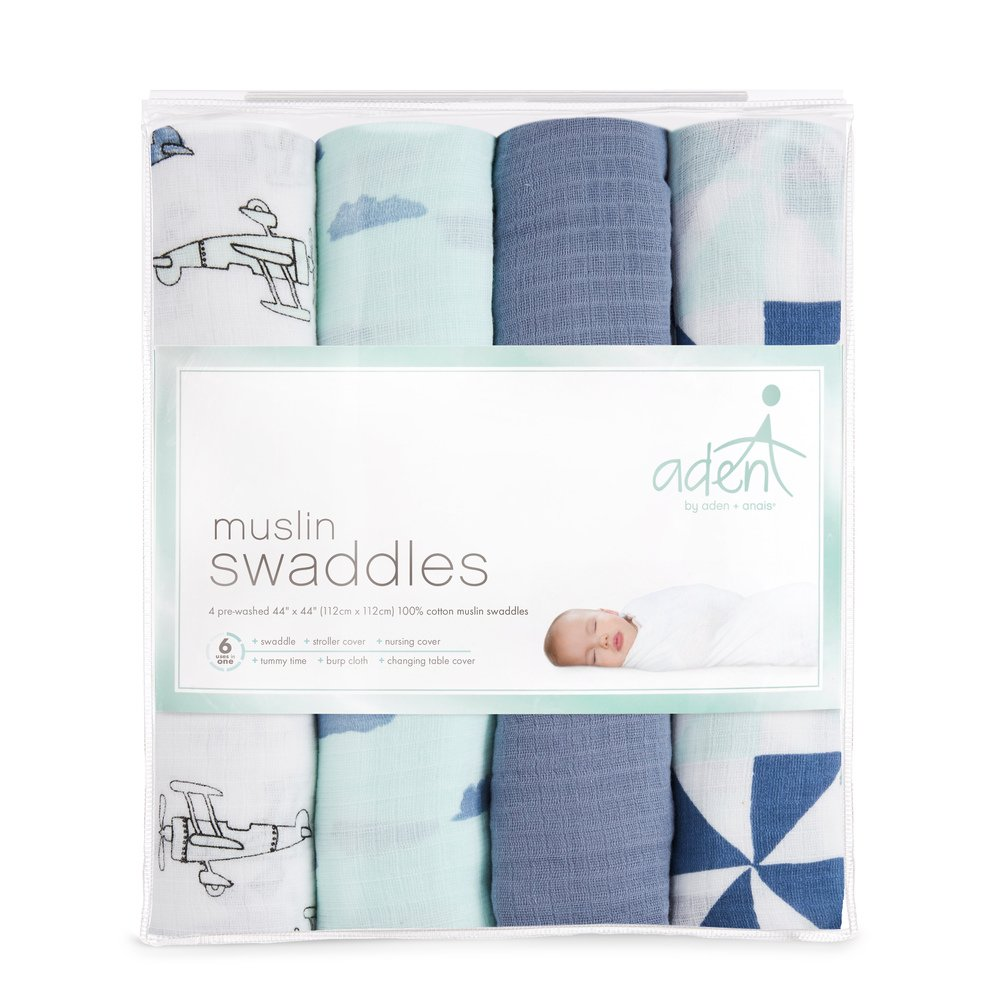 4 Pack 100/% Cotton Muslin anais Swaddleplus Baby Swaddle Blanket Safari Babes Large 44 X 44 inch Aden by aden