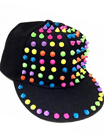 d275c4d2c84 Amazon.com  2Chique Boutique Women s Trendy Cap With Multi Color Rainbow  Spikes Adjustable Black  Clothing