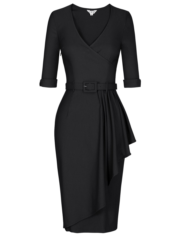 MUXXN Lady Formal Half Sleeve Ruched Waist Office Work Pencil Dress (Black XL)