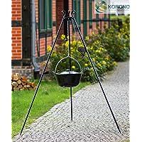 Schwenkgrill XXL schwarz Swing Grill Garten ✔ rund dreieckig ✔ schwenkbar ✔ Grillen mit Holzkohle ✔ mit Dreibeinen