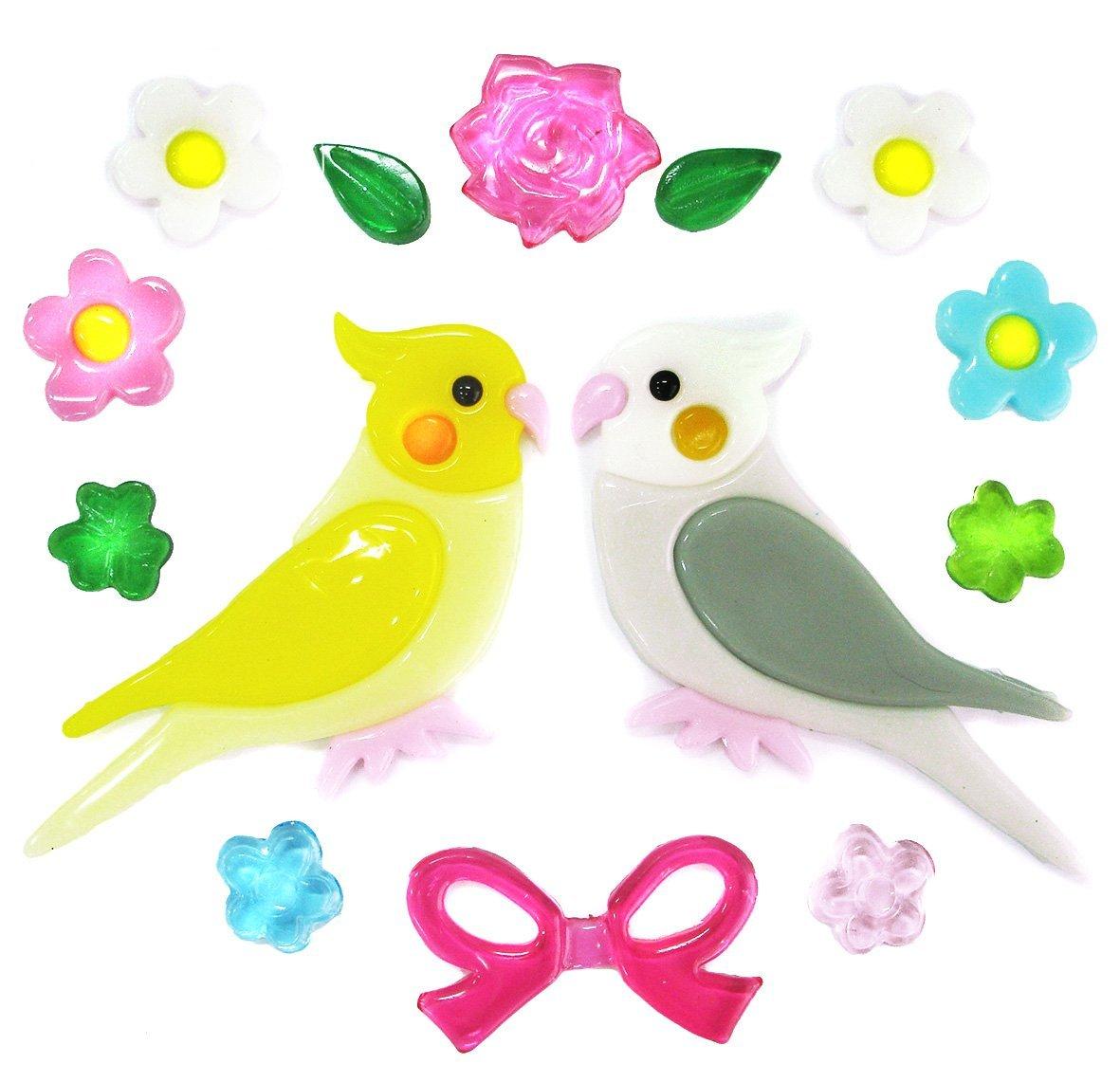 Outlook Design Gel Gems Uccellini Birdies Ag00, Sticker Gel Decorativo Attacca e Stacca per Finestre e Superfici Liscie, Sacchetto Small 20 X 20 Cm V2TSS0AG00