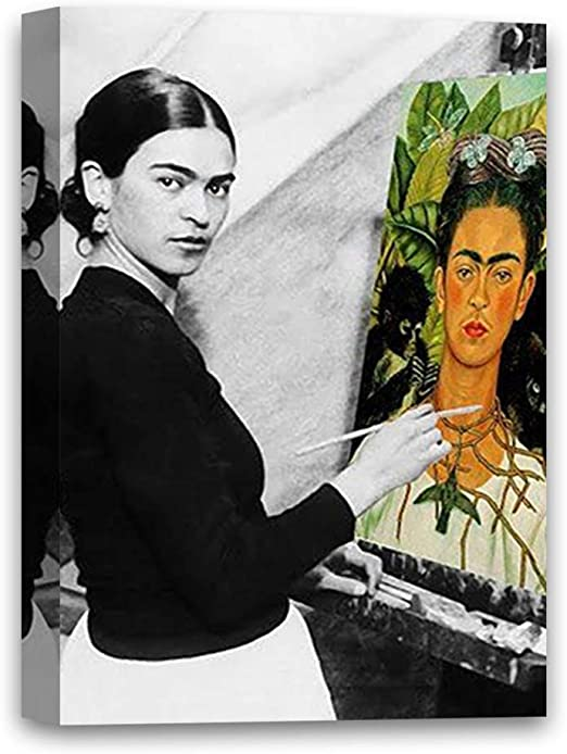 """Amazon.com: Funny Ugly Christmas Sweater Cute Frida Self-Portrait Mexican Painter Frida Kahlo Modern Painting Feminist Gifts Frida Canvas Decor Ready to Hang Poster 11"""" x 17"""": Posters & Prints"""