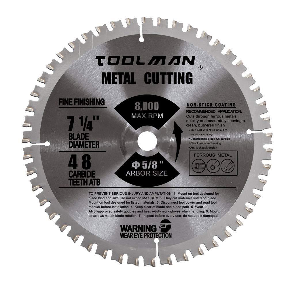 Toolman Circular Saw Blade Universal Fit 7-1/4'' 5/8'' 48T Carbide Tip For Metal cutting works with DeWalt Makita Ryobi by Toolman 47 (Image #1)