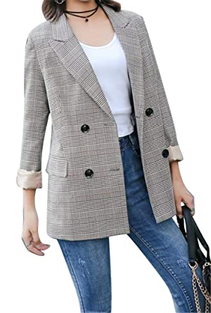 a383e2a495 Fubotevic Women s Houndstooth British Style Slim Fit Double Breasted Work  Office OL Blazer Jacket Suit Coat