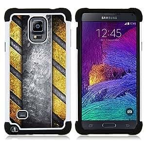 - Danger Stripes Metal Pattern/ H??brido 3in1 Deluxe Impreso duro Soft Alto Impacto caja de la armadura Defender - SHIMIN CAO - For Samsung Galaxy Note 4 SM-N910 N910