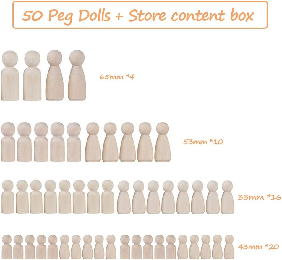 Peg Game Craft Art Projects Decoration Toy 50 Pieces Nature Wooden Decorative DIY Doll People Blank Doll Bodies with Storage Case for Kids Painting Opaltool Wooden Peg Dolls Unfinished