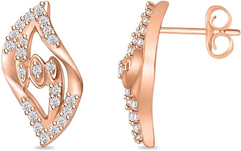 Round Cut Cubic Zirconia Leaf Style Stud Earrings for Women Girl Teen 14k Gold Plated