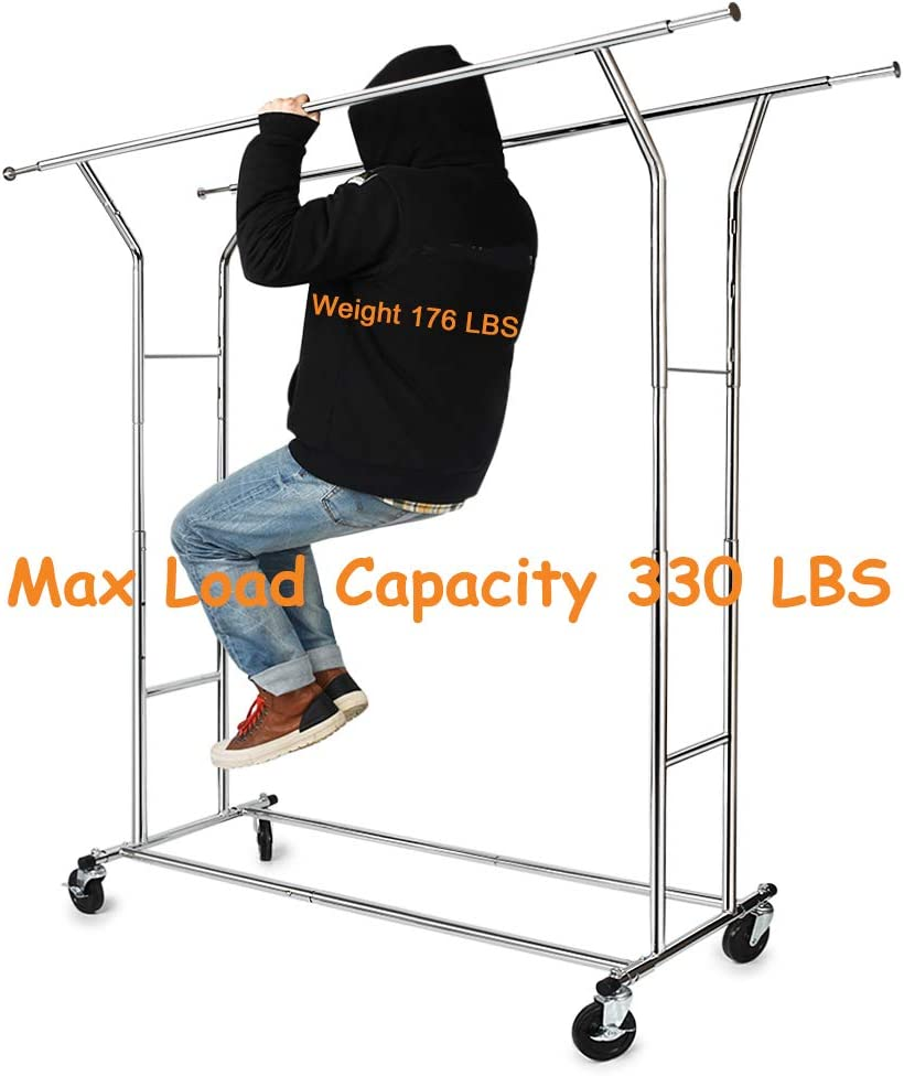 Commercial Grade Clothing Garment Racks Heavy Duty Double Rails Adjustable