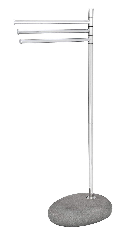 WENKO 19493100 Handtuchständer Pebble Stone grau mit 3 Armen - Kleiderständer, bewegliche Arme, Stahl, 38 x 84 x 23 cm, Chrom B007JQEUQ8 Handtuchstnder