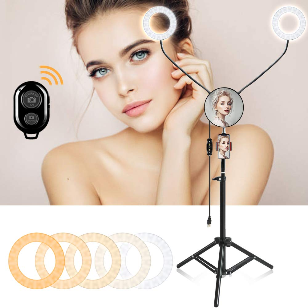 Ring Light -Rantizon Double Lights Selfie Ring Lights with Phone Tripod Stand and Bluetooth Receiver for Selfie/Vlog/Makeup/YouTube/Phone Video Shooting,360° Flexible Goose Neck Ring Light with Stand by Rantizon