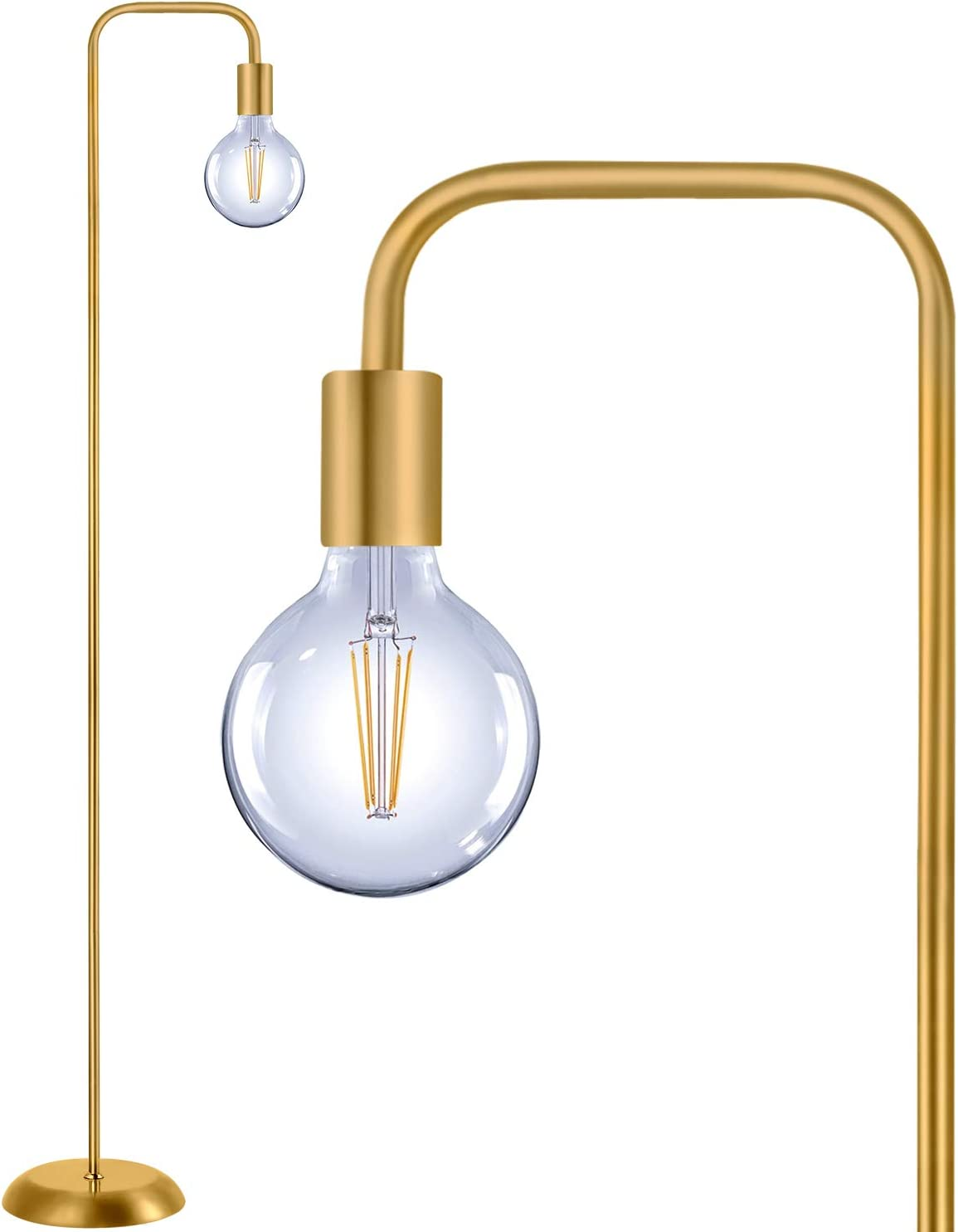 QiMH Industrial Floor Lamp for Living Room,Industrial Tall Standing Lamp with Light Bulb,100% Metal Modern Gold Led Floor Lamp for Home Decor,Bedroom,Reading,Office(E26 Socket,Foot Switch)