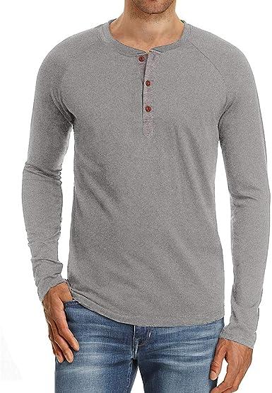 acelyn Henley - Camiseta de Manga Larga para Hombre, Cuello ...