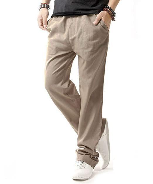 3c2cdca17d0e Gopune Men s Casual Pants Linen Trousers Lightweight Elasticated Waist with  Pockets(Beige