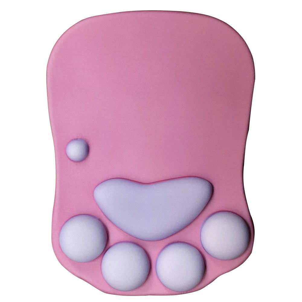 Cmhoo Mouse Pad with Wrist Support Cat Paw Soft Silicone Wrist Rests Wrist Cushion Computer Mouse Pad Mat Desk Decor (Catpaw Rose)